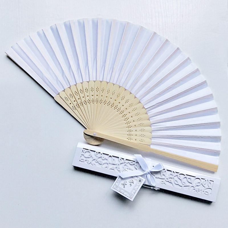 Personalized bamboo custom print silk white folding hand fan with box packing