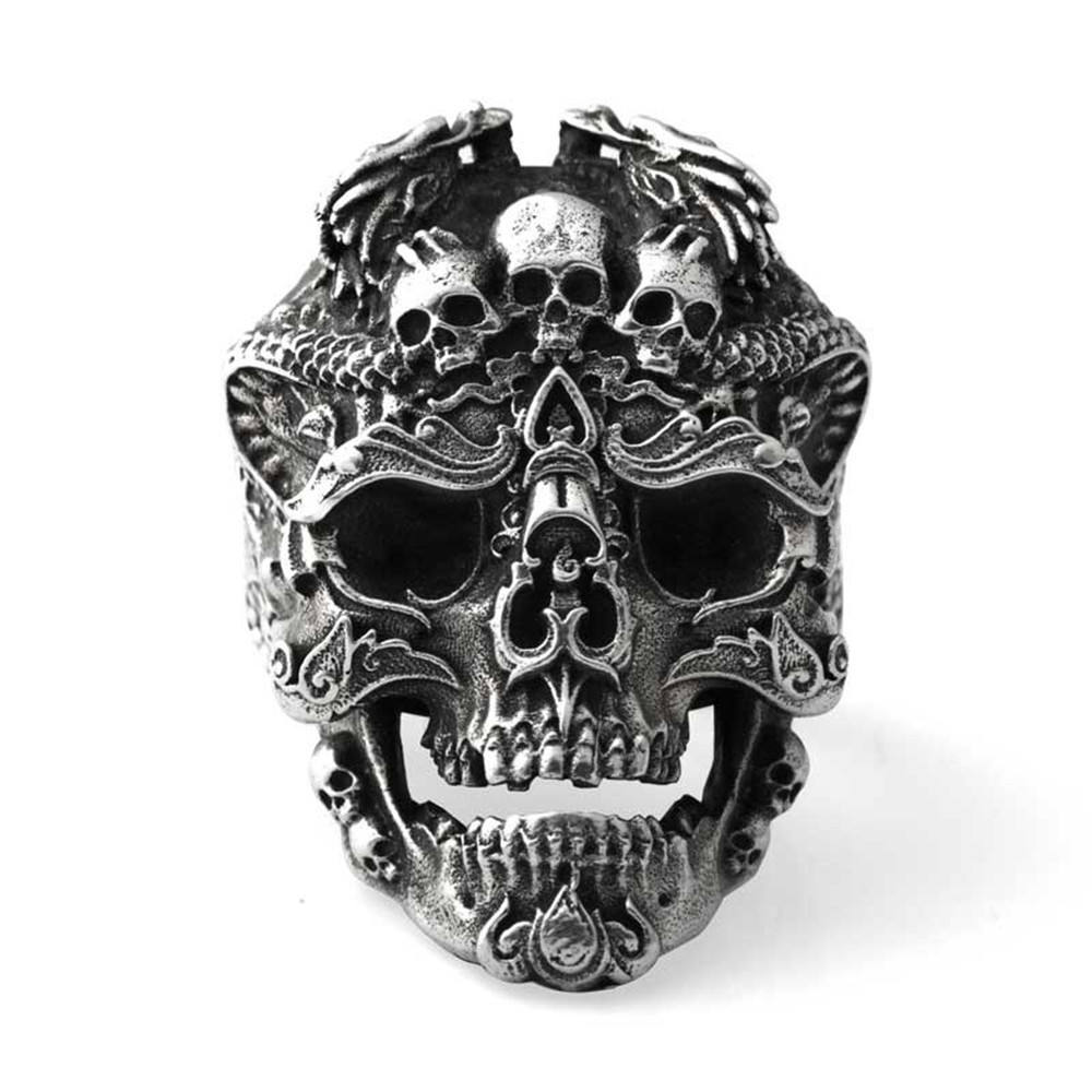 Retro Silver Plated Huge Heavy Punk Gothic Band Ring Predator Head Warrior Skull Ring For Men