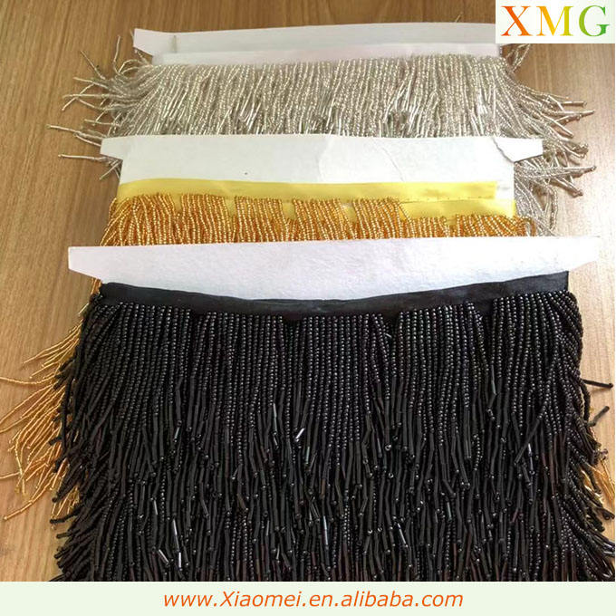 High quality gold & sliver & black ribbon beaded wavy tassel & fringe trimming for clothing