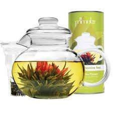 Monaco Teapot   Blooming Tea Gift Set  6 Pieces  - 34 oz Borosilicate Glass Tea pot