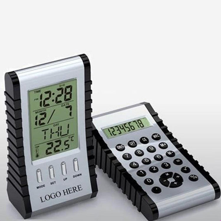 Double-sided digital calender clock with calculator
