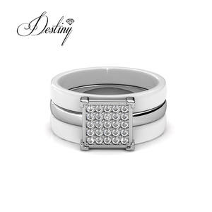 Destiny jewellery Newest design brilliant open adjustable rings silver 925 sterling Square Ceramic Ring for lady