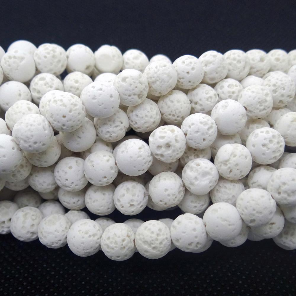 Wholesale White Lava Volcanic Round Stone Loose Beads For Jewelry Making 4mm 6mm 8mm 10mm 12mm 14mm