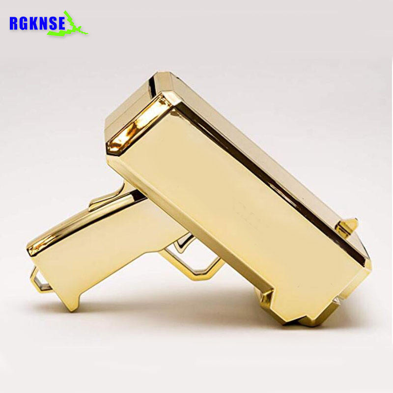 2019 Promotional Metallic Gold money Spray Gun, OEM LOGO & Color Cash Cannon Money Gun gold plated Chrome Gold money gun