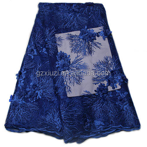 New Arrival Royal Blue 3d Flower Embroidery Beaded French Lace Fabric For Gament XZ956