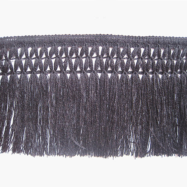 Cheap Machine Made Black Polyester Cotton Fringe For Clothes