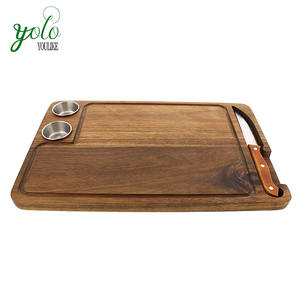 Gourmet Steak Board Premium Acacia Wood Plate for Serving Carving Sauce Cups Knife
