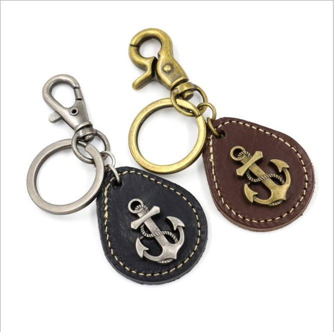 Hot creative zinc alloy metal anchor cowhide leather pendant car keychain promotion gift