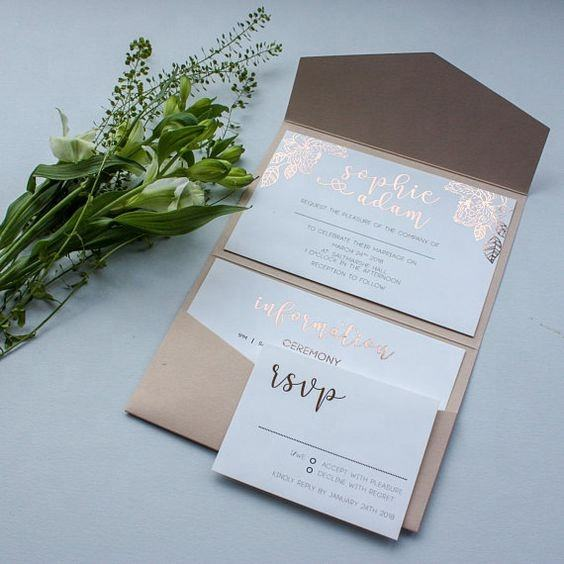 Most Beautiful Floral Printed Peach Pocketfold Wedding Invitations