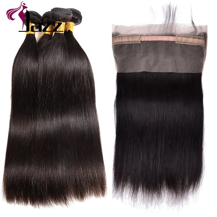 Cheap Wholesale 9a Grade Brazilian Human Hair Circle 8-20 Inches 360 Lace Frontal Closure Plucked Elastic Band