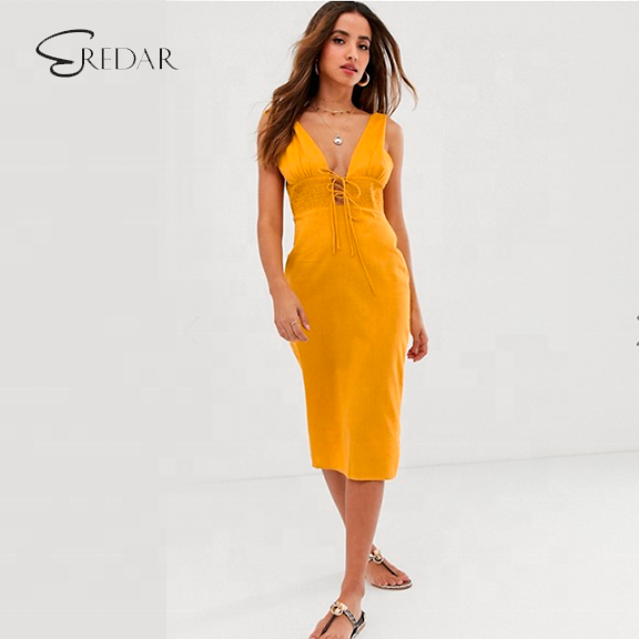 Summer elegant tie shoulder plunge midi sundress with shirred waist