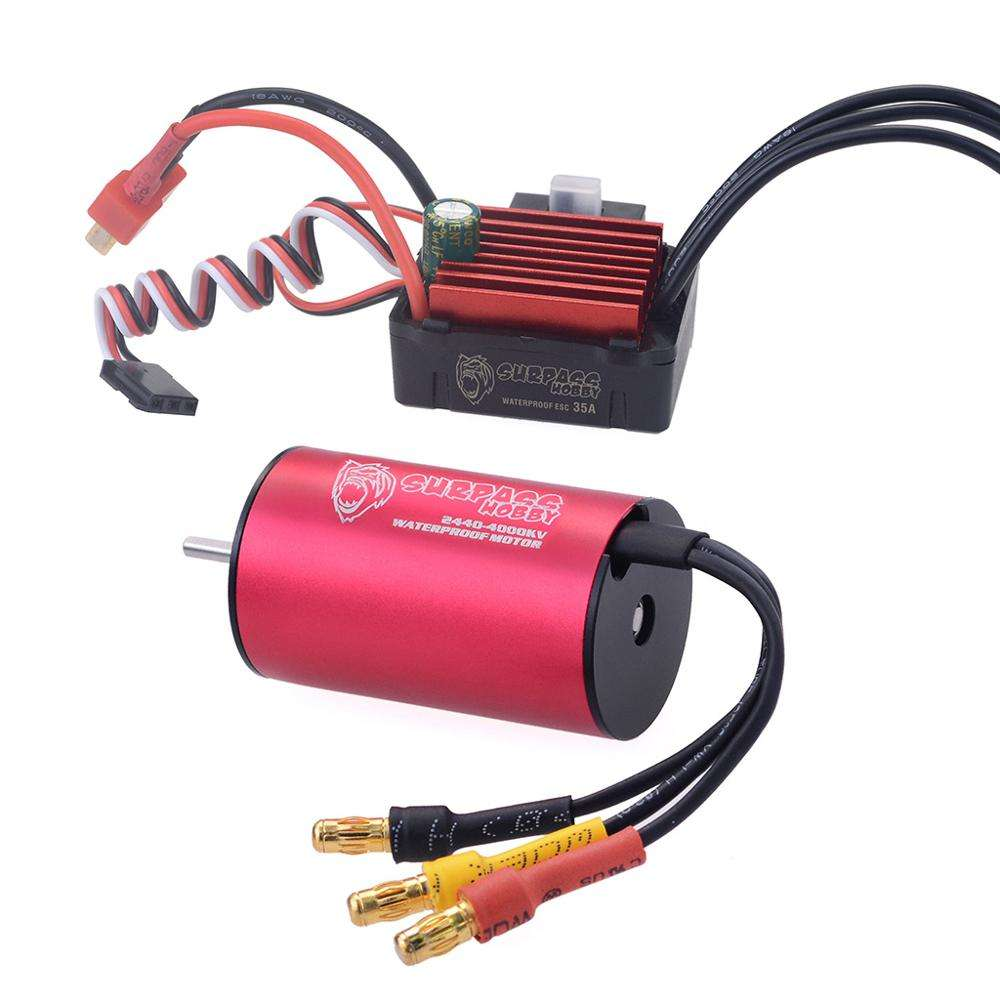 Waterproof rc electric motor rc accessories use for rc motor2440 + 35A ESC combo brushless 1:16
