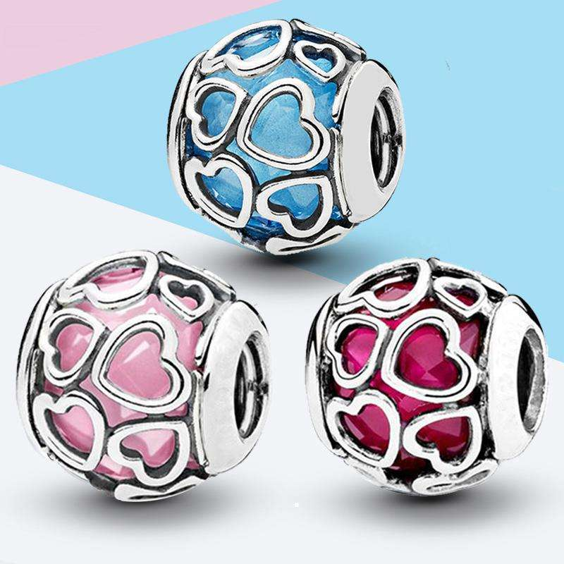 Love glass beads charms bead fit for pandora bracelet chain