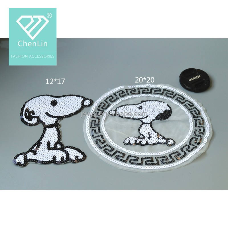 Fancy patch SNOOPY del fumetto di paillettes patch all'ingrosso