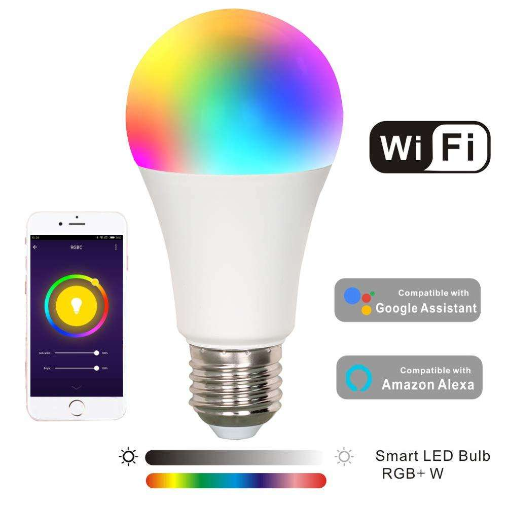Smart Bulb 7W WiFi Smart Dimmable Multicoloured LED Light Bulb, Voice Control by Amazon Alexa Google Home IFTTT