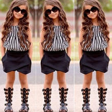 Summer Children's Clothes Suit Fashion Girls Striped Shirt Vest + Shorts Two-Piece Kids Spripe Casual Sets for girl