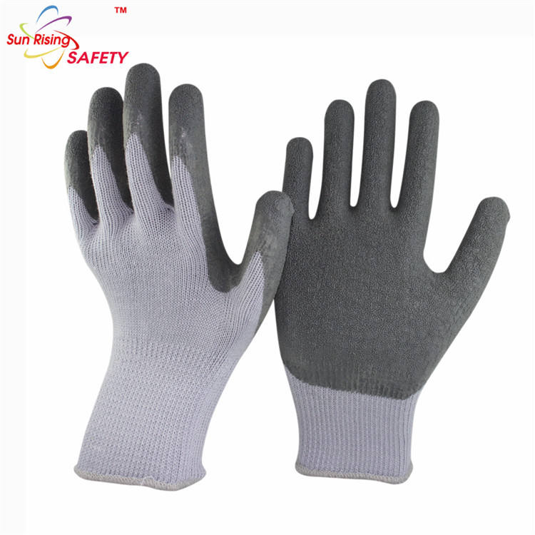 SRSAFETY Grey 13 gauge Polyester Shell rubber working nitrile gloves