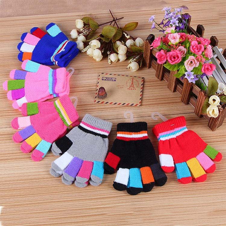 Customized Color Winter Knitted Magic Elastic Cuff Gloves With Colorful Fingers For Kids And Children
