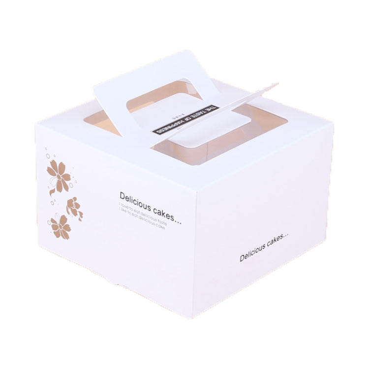 Wholesale transparent windows birthday packaging paper cake box with handle