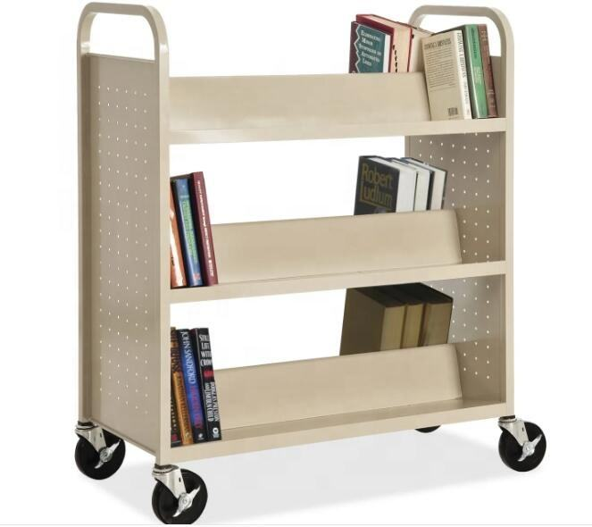 Library Double Sided Book Trolley / Mobile Steel Book Cart For Sale