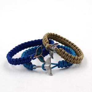 Solomon knots braided woven bracelet nylon bracelet with fish tail paracord armband