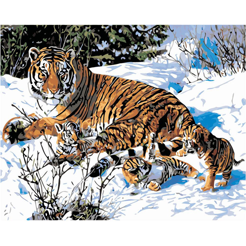 Oil Painting Printer Tiger Family In The Snow Paint By Number Kits Oil Painting On Canvas The Canvas Print Living Room
