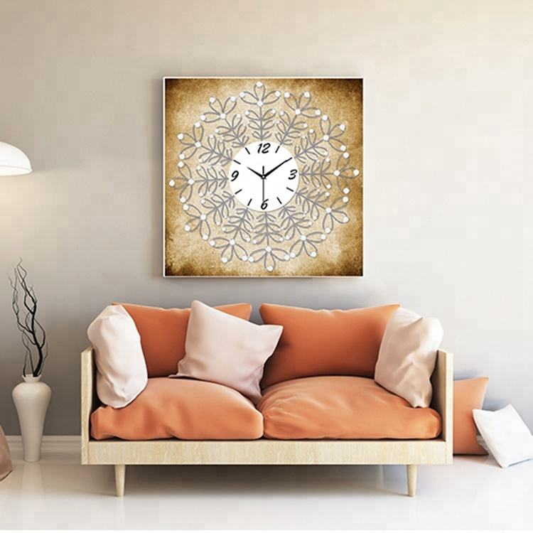 Factory Sale Creative Art Decoration Diamond Painting DIY Beautiful Crystal Diamond Painting Wall Clock For Home Decor