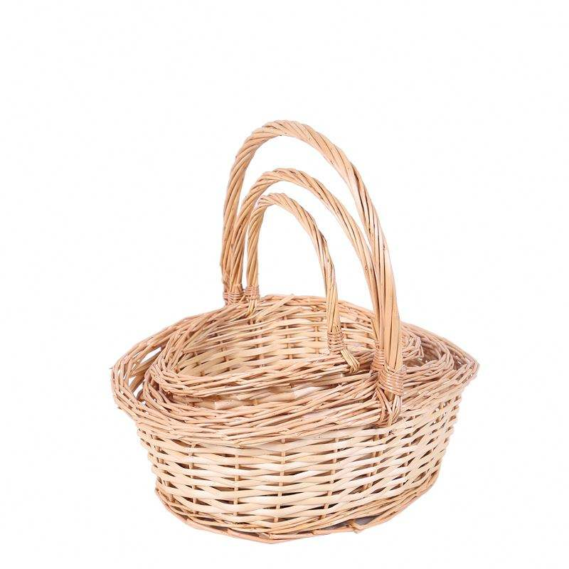 Hand Weave Oval Round Woven Shopping Handle Basket