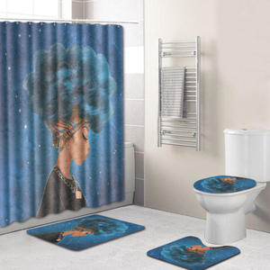 Fancy 100% Polyester Bathroom Shower Curtain Sets, Home Goods Blackout Shower Curtain With Bath Mat/
