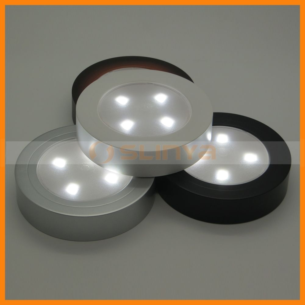 Mini Round 4 LED Push Touch Tap Battery Powered Night Light