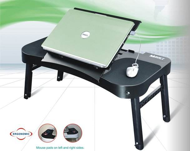 Laptop stand For Bed and Sofa, Desk Portable Adjustable Laptop Table Cooling Fans And Mouse Pad, Ergonomics Design