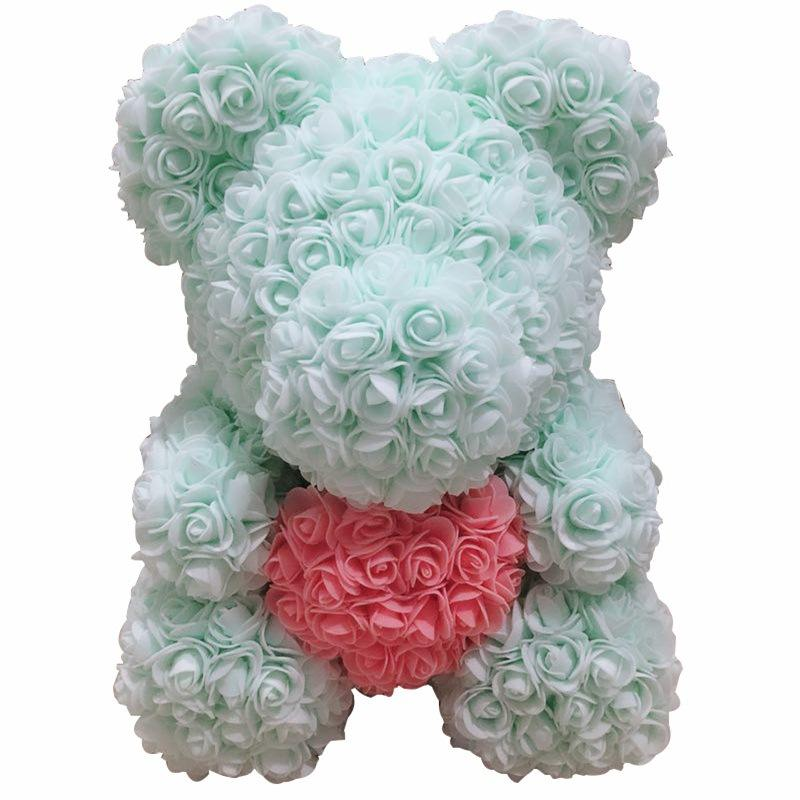 White Foam Bear Molding DIY Toy for regalos de san Valentine Day Party Wedding Decoration Rose Bear Mold Foam Plastic Flower
