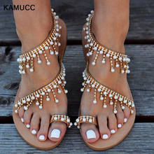 Large size handmade pearl beaded Roman ladies sandals flat with flat toe toe beach sandals