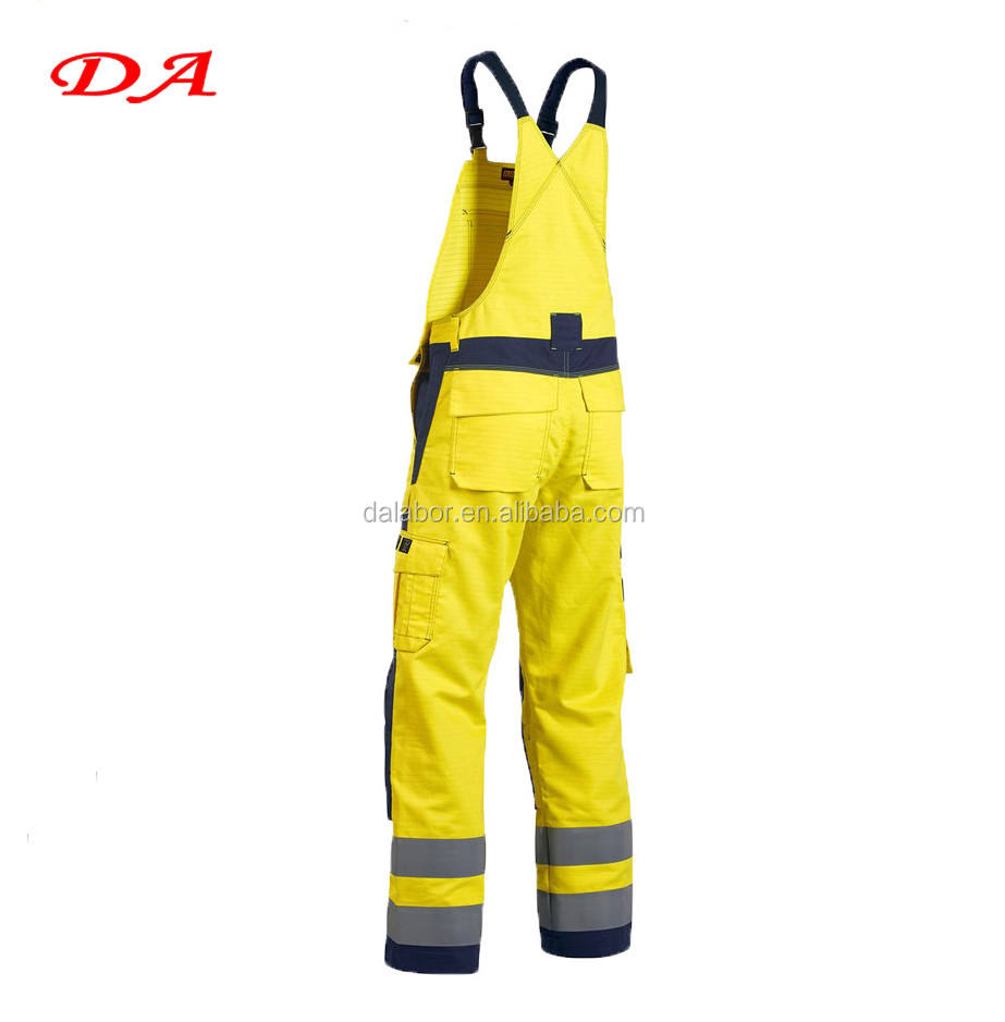 Fluorescence Yellow Red Color Hi Vis Construction Trousers