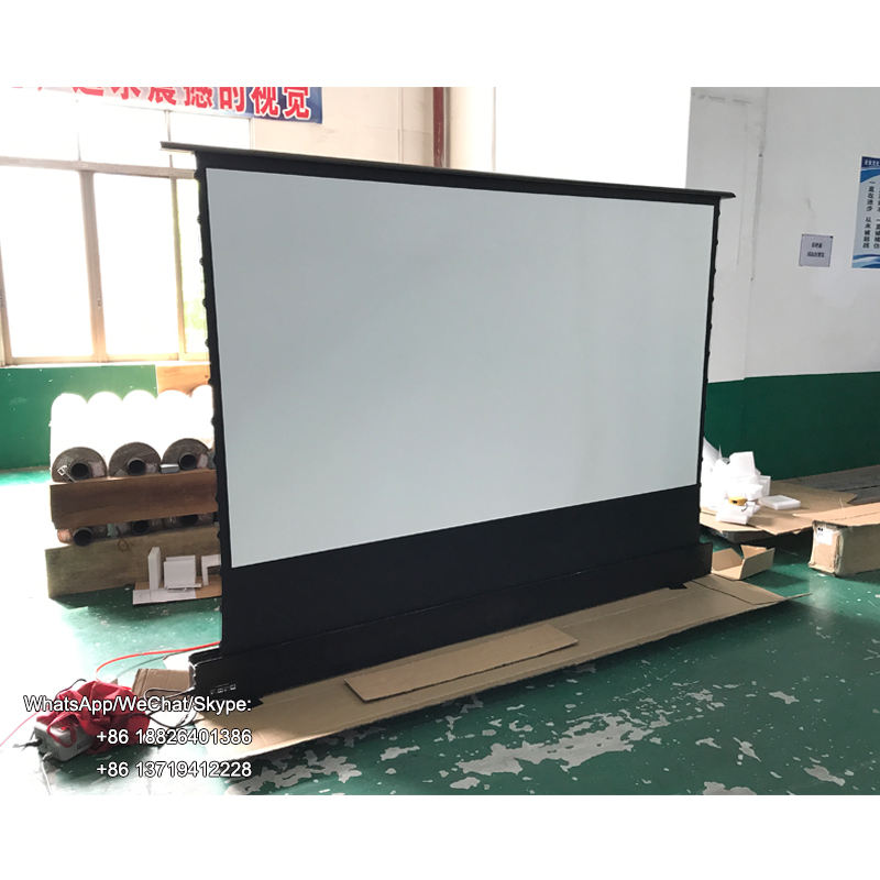 100 inch tab tension electric floor rising projector screen portable aluminum casing for ultra short throw projector