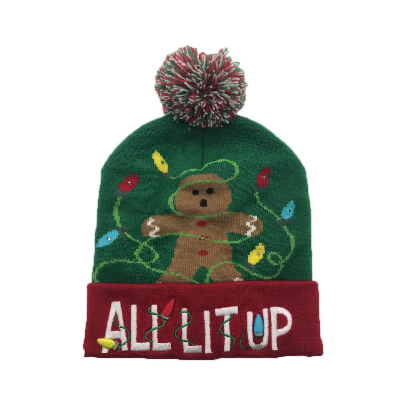 Christmas hat with LED flash children's hat fun knit winter hat