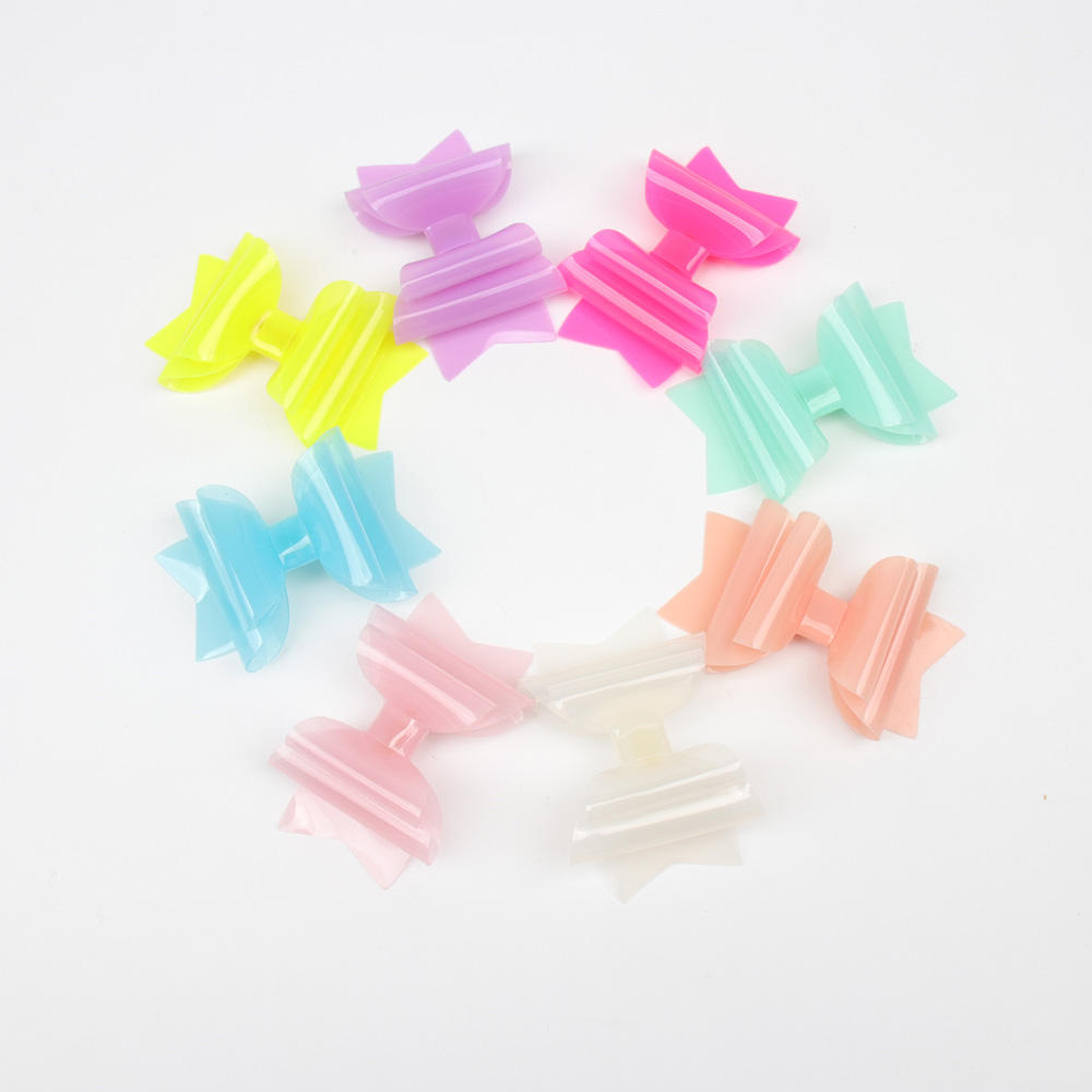 Summer 3 Inch Candy Cute PVC Jelly Plastic Hair Bows for Girls Princess Hair Clips