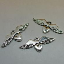 DIY alloy angel wing heart pendant charm A2157