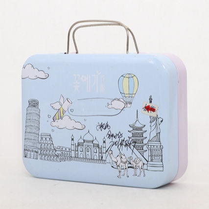 custom metal suitcase gift hinge tin box with handle rectangular empty tin container for kids