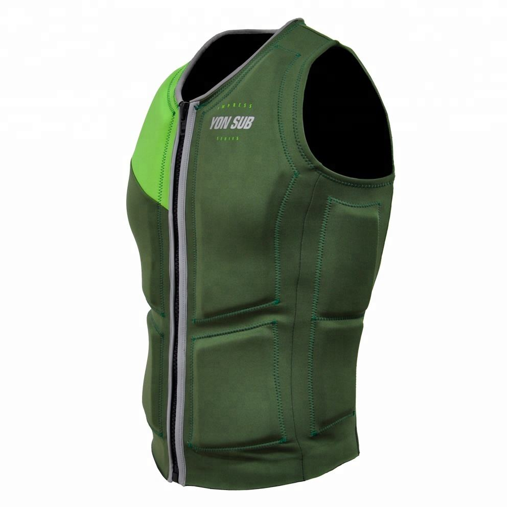 New design high strech flexible life vest fluorescent green life jacket for sports swimming suitable for adult
