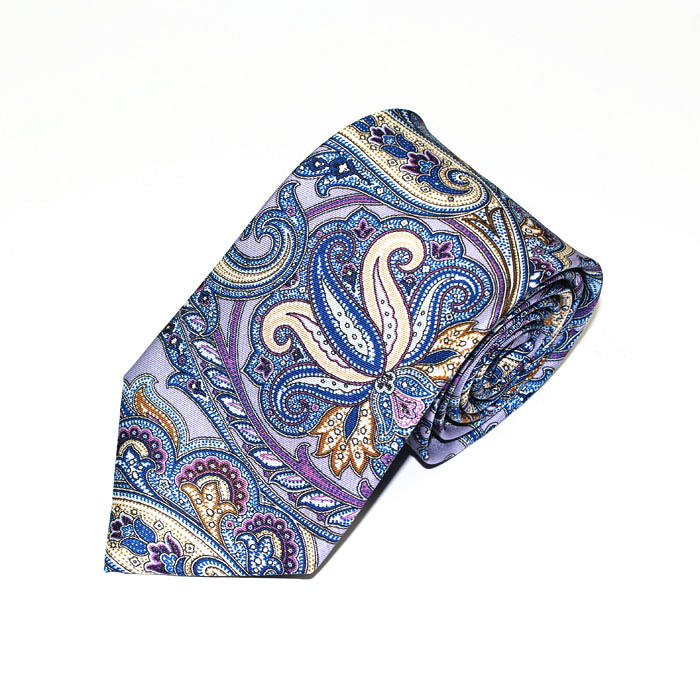 Western silk printed purple neckties for men