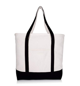 Heavy Duty Daily Tote with Shoulder Length Handles and Outside Pocket Zippered Cotton Canvas Tote Bag