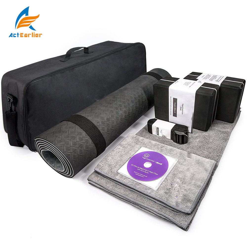 Actearllier Premium Yoga 7 Pieces set include1 mat 2 Blocks2 Towel 1 Carrying Bag & Strap for Yogi & Beginners