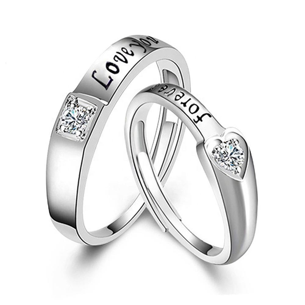 Free Size Diamond Engagement Wedding Adjustable Rings 925 Silver couple rings