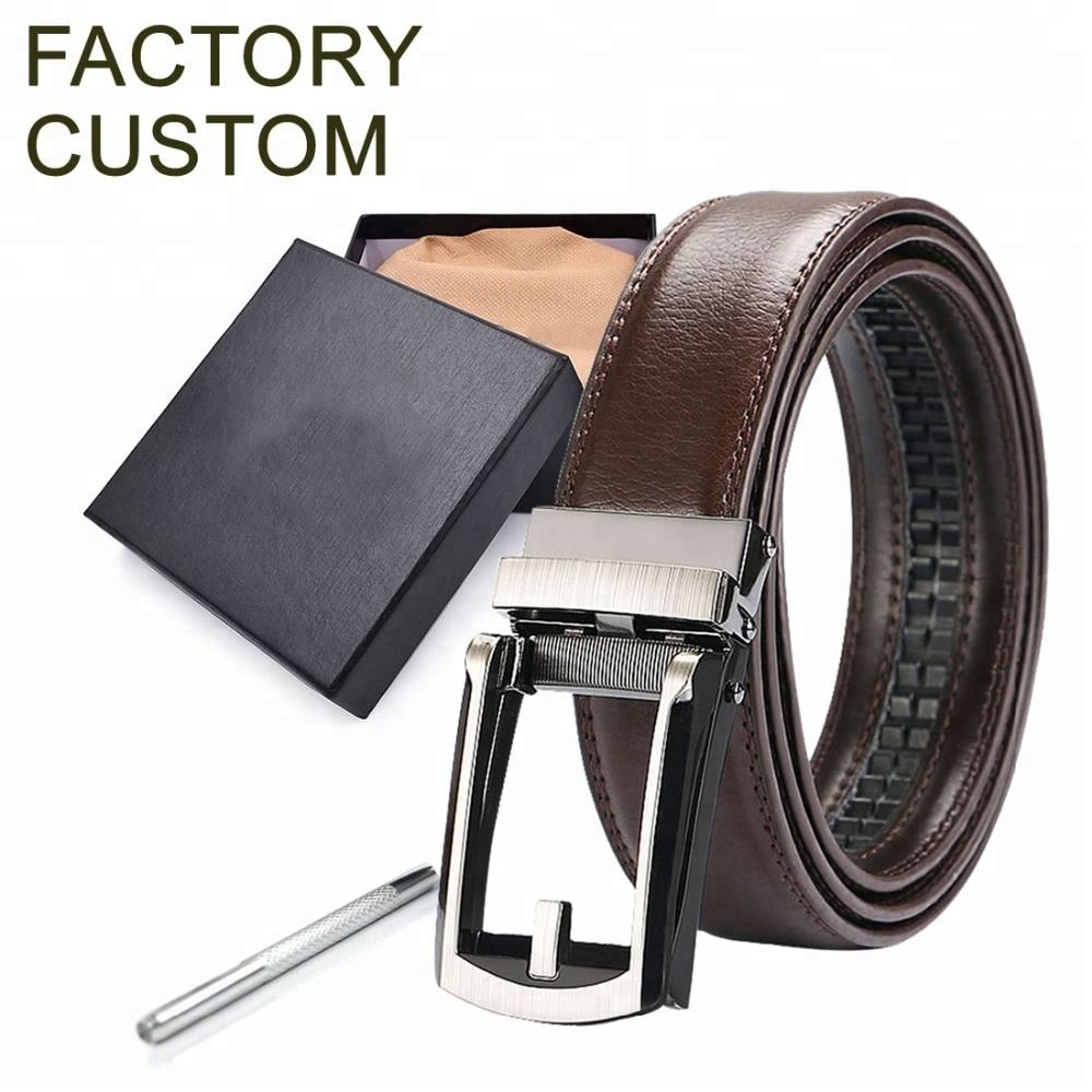 Custom Wholesale Personalized Private Label Auto Automatic Ratchet Sliding Men Genuine Leather Belt for Men