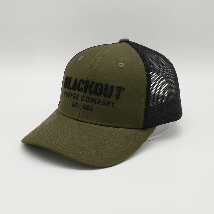 3d 6 Panel Embroidery Army-Green Trucker Caps, Cotton Mesh Trucker Hats With Custom Logo , Adjustable Closure Adult Trucker Caps