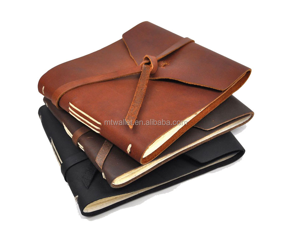 2018 new arrival soft bound hand crafted rustic leather note book guest book custom journals, hand sewn bound and not expandable