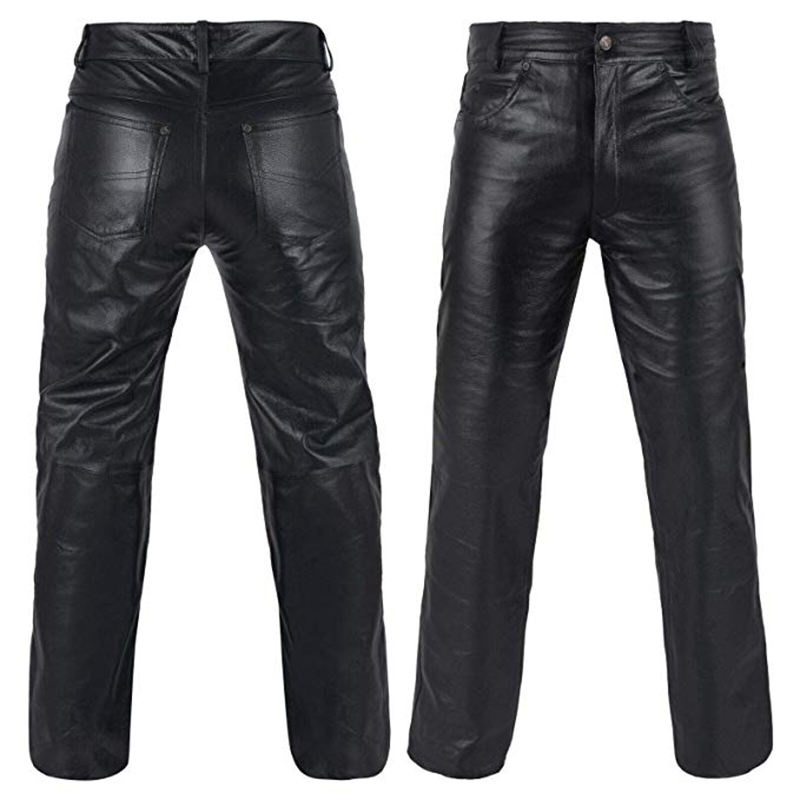 mens leather jeans black leather pants perfored leather trousers Lederjeans