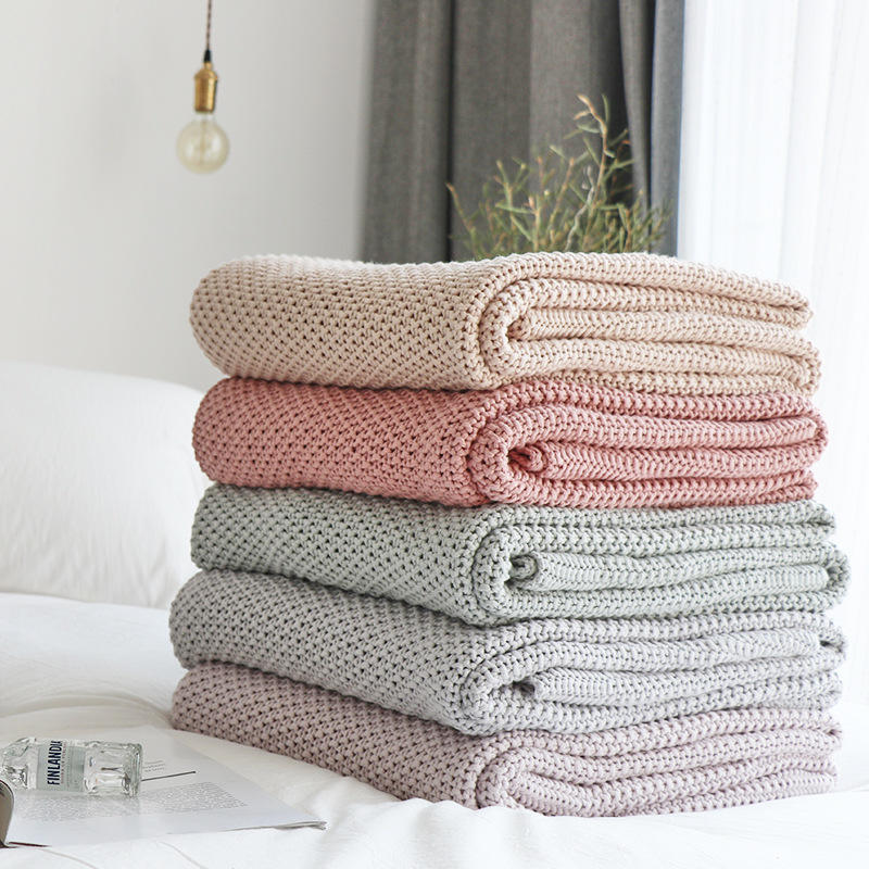 100% Organic Cotton Home Sofa Throw Bed Weighted Blankets Knitted Blanket Baby Swaddle Blanket
