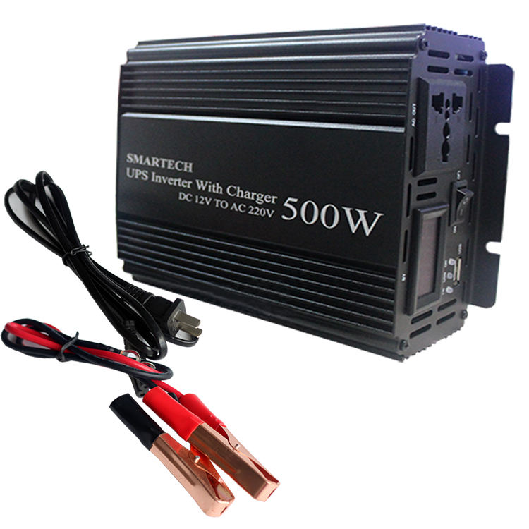 12V 24V 110V 220V 1000W 500W Rated Power Up Inverter dengan Charger Inverter Gelombang Sinus Murni dengan UPS 500W